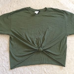 Boohoo army green knitted t shirt